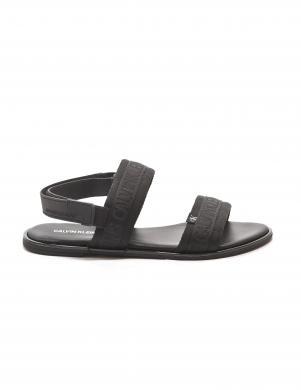 CALVIN KLEIN sieviešu melnas sandales FLAT SANDAL TWOSTRAPS PES