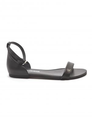 CALVIN KLEIN sieviešu melnas ādas sandales FLAT SNADAL ANKLE HW LTH