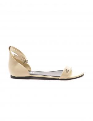 CALVIN KLEIN sieviešu smilšu krāsas ādas sandales FLAT SNADAL ANKLE HW LTH