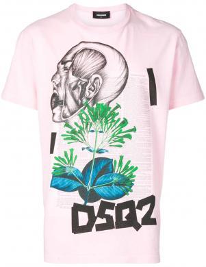 DSQUARED2 vīriešu rozā krekls ar īsām piedurknēm