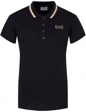 EA7 sieviešu melns Polo tipa krekls