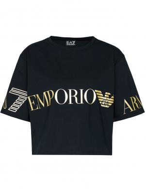 EMPORIO ARMANI sieviešu melns plats krekls ar īsām piedurknēm