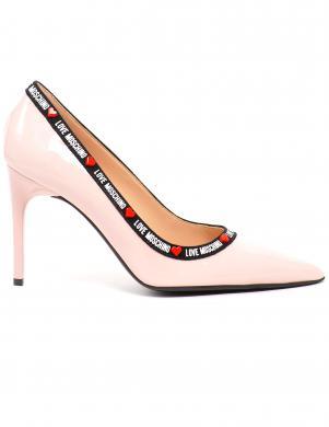 LOVE MOSCHINO sieviešu rozā lakādas augstpapēžu apavi