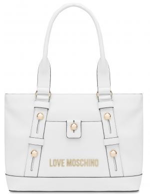 LOVE MOSCHINO sieviešu balta soma ar gariem rokturiem