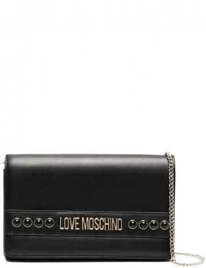 LOVE MOSCHINO sieviešu melna soma pār plecu ar pērlītēm