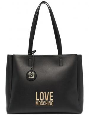 LOVE MOSCHINO sieviešu melna soma ar gariem rokturiem