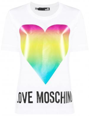 LOVE MOSCHINO sieviešu balts krekls ar krāsainu sirdi