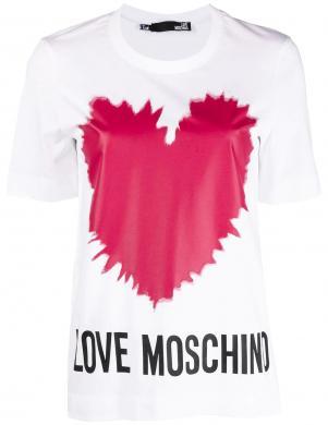 LOVE MOSCHINO sieviešu balts krekls ar rozā sirdi