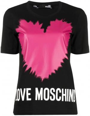 LOVE MOSCHINO sieviešu melns krekls ar rozā sirdi