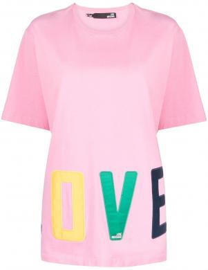 LOVE MOSCHINO sieviešu rozā krekls ar uzrakstu LOVE