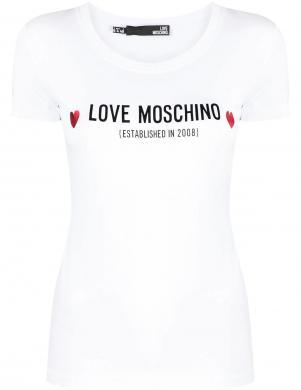 LOVE MOSCHINO sieviešu balts krekls ar īsām piedurknēm