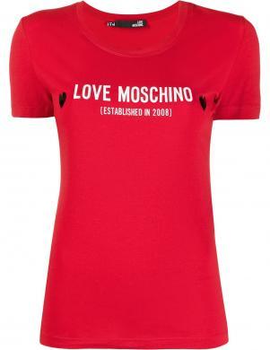 LOVE MOSCHINO sieviešu sarkans krekls ar īsām piedurknēm