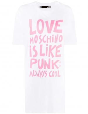 LOVE MOSCHINO balta īsa krekla tipa kleita ar rozā uzrakstu