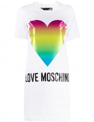LOVE MOSCHINO balta īsa krekla tipa kleita ar krāsainu sirdi