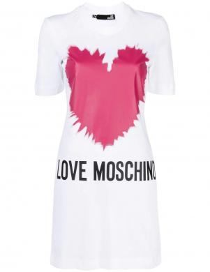 LOVE MOSCHINO balta īsa krekla tipa kleita ar rozā sirdīm