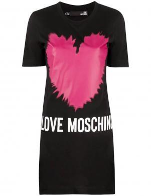 LOVE MOSCHINO melna īsa krekla tipa kleita ar rozā sirdīm
