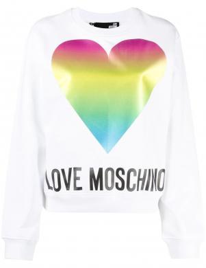 LOVE MOSCHINO sieviešu balts džemperis ar krāsainu sirdi