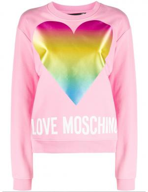 LOVE MOSCHINO sieviešu rozā džemperis ar krāsainu sirdi