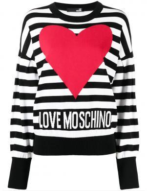 LOVE MOSCHINO sieviešu svītrains džemperis ar sirdi