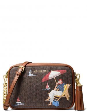 MICHAEL KORS sieviešu brūna soma pār plecu ar attēliem GINNY