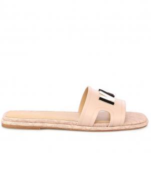 MICHAEL KORS sieviešu krēmīgas krāsas ādas čības - sandales KIPPY SLIDE