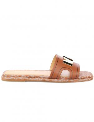 MICHAEL KORS sieviešu brūnas ādas čības - sandales KIPPY SLIDE