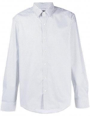 MICHAEL KORS vīriešu balts rakstains krekls ar garām piedurknēm