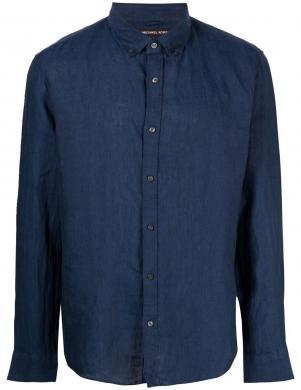 MICHAEL KORS vīriešu tumši zils lina krekls ar garām piedurknēm