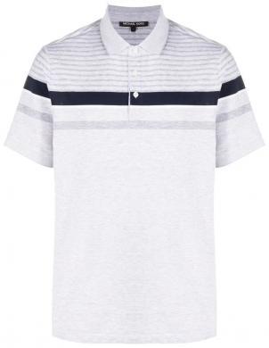 MICHAEL KORS vīriešu gaiši pelēks Polo tipa krekls ar īsām piedurknēm