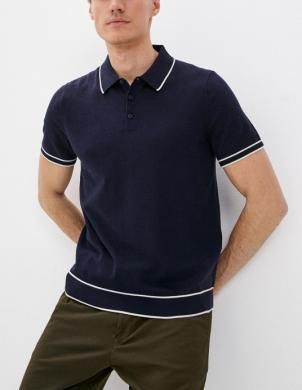 MICHAEL KORS vīriešu tumši zils Polo tipa krekls ar īsām piedurknēm