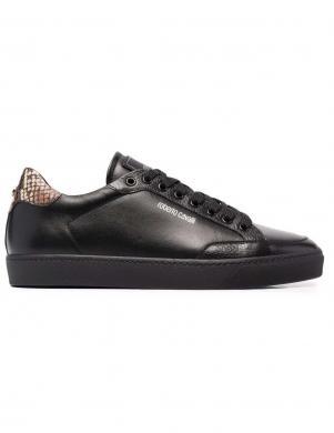 ROBERTO CAVALLI vīriešu melni ādas ikdienas apavi