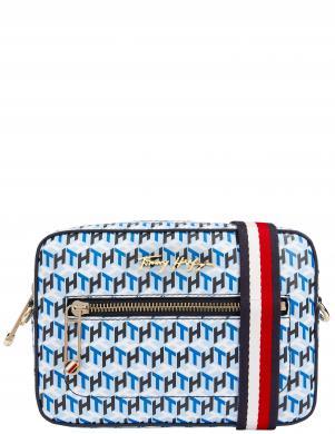 TOMMY HILFIGER sieviešu zila soma pār plecu ICONIC TOMMY CAMERA BAG MONOGRAM