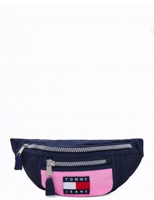 TOMMY HILFIGER sieviešu rozā soma pār plecu TJW HERITAGE BUMBAG CANVAS