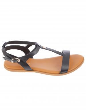 TOMMY HILFIGER sieviešu melnas sandales FEMININE LEATHER FLAT SANDAL