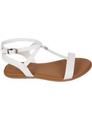 TOMMY HILFIGER sieviešu baltas sandales FEMININE LEATHER FLAT SANDAL