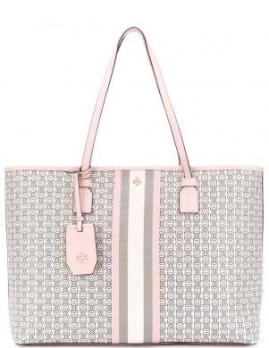 TORY BURCH sieviešu rozā liela tekstila soma GEMINI LINK