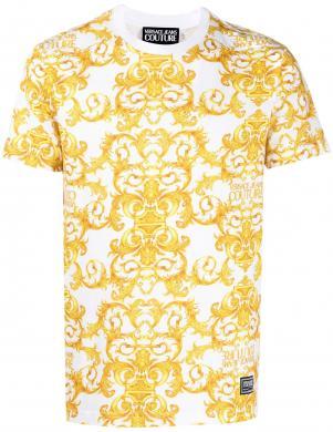 VERSACE JEANS COUTURE vīriešu balts - dzeltens krekls ar īsām piedurknēm