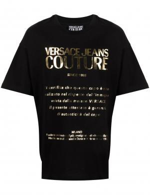 VERSACE JEANS COUTURE vīriešu melns krekls ar īsām piedurknēm un uzrakstu