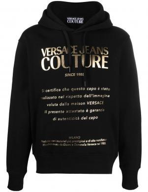 VERSACE JEANS COUTURE vīriešu melns džemperis ar uzrakstu un kapuci