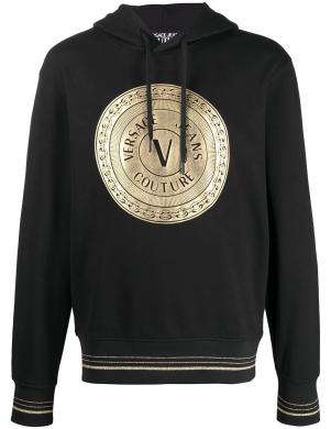 VERSACE JEANS COUTURE vīriešu melns džemperis ar kapuci