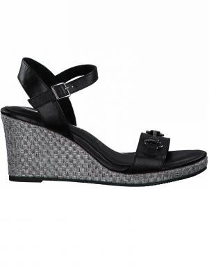 TAMARIS sieviešu melnas sandales ar augstu zoli