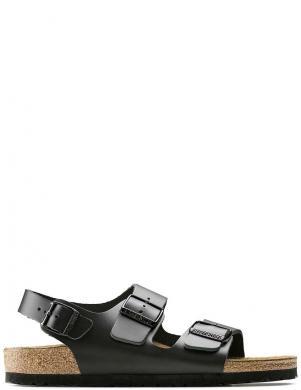BIRKENSTOCK vīriešu-sieviešu melnas ādas sandales šaurai kājai Milano BS