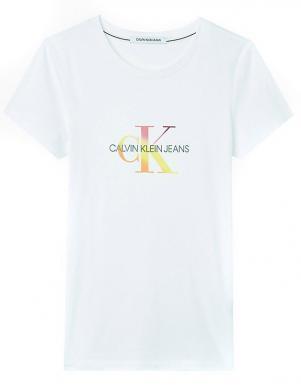 CALVIN KLEIN JEANS sieviešu balts kokvilnas krekls ar logotipu