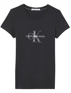 CALVIN KLEIN JEANS sieviešu melns kokvilnas krekls ar logotipu