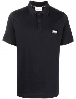 CALVIN KLEIN vīriešu melns polo tipa krekls ar īsām piedurknēm