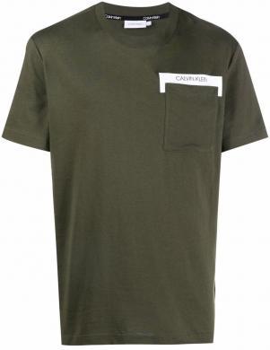 CALVIN KLEIN vīriešu zaļš kokvilnas krekls ar īsām piedurknēm