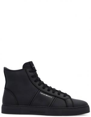 EMPORIO ARMANI vīriešu melni ādas ikdienas apavi-zābaki