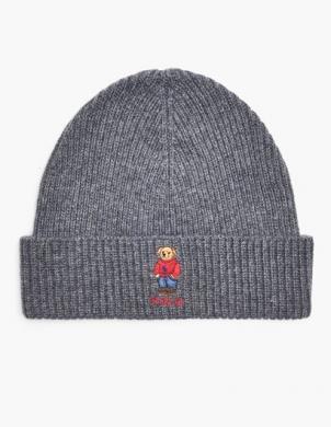 POLO RALPH LAUREN pelēka vīriešu cepure ar vilnu