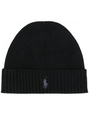 POLO RALPH LAUREN melna vīriešu vilnas cepure