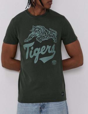 SUPERDRY vīriešu tumši zaļš kokvilnas krekls OVERDYE COLLEGIATE STATE T-SHIRT ERKEK